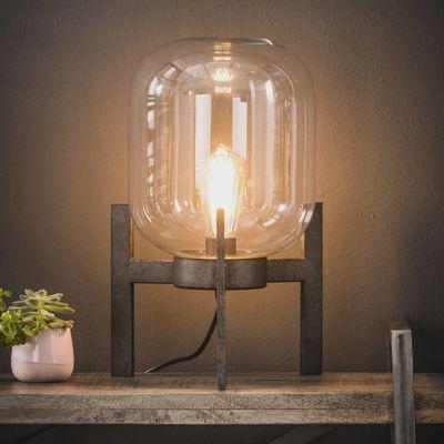 Tafellamp Bensheim glas -oud zilver