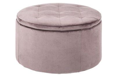 Pouffe Fures in oud roze fluwelen stof