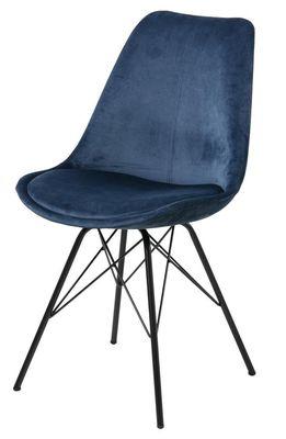 Eetkamerstoel Frostrup in blauwe velours stof