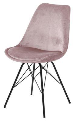 Eetkamerstoel Frostrup in oud roze velours stof