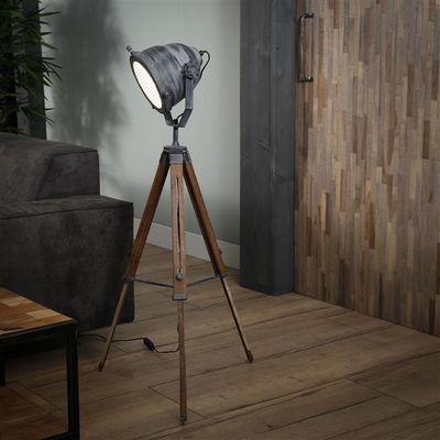 Vloerlamp Füssen met houten statief