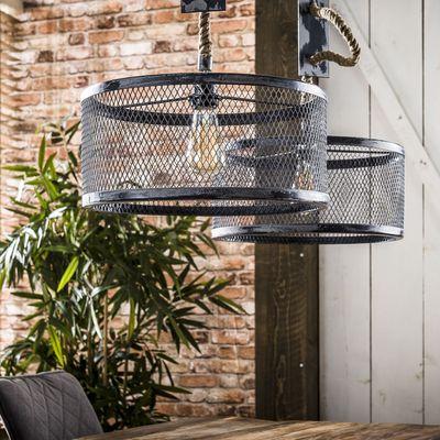 Hanglamp Alfeld met 2 grijze kappen aan verstelbaar touw