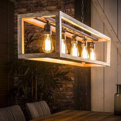 Hanglamp Alsfeld rechthoek met mangohouten frame