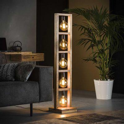 Vloerlamp Gaggenau in rechthoekig houten frame