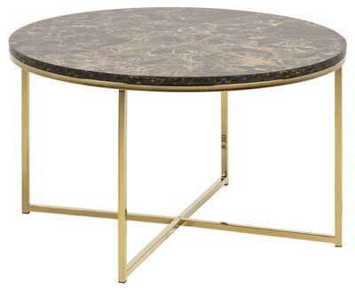 Faaborg salontafel rond 80 cm met bruin marmerlook blad