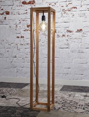 Vloerlamp Attendorn,  houten frame massief mangohout