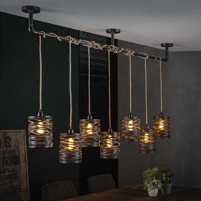 Hanglamp Allstedt met 7 kappen grijs