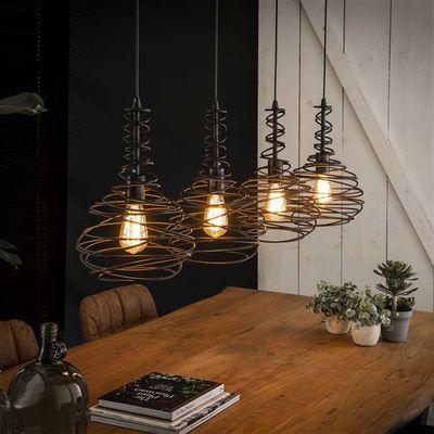 Hanglamp Eutin met kegelvormige gespinde kappen