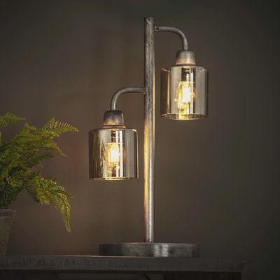 Tafellamp Gardelegen in oud zilver met amberkleur glas