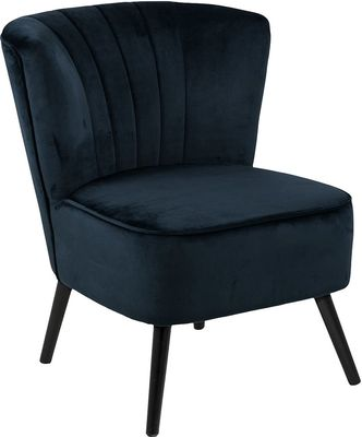 Fauteuil Emma in donkerblauwe velours stof