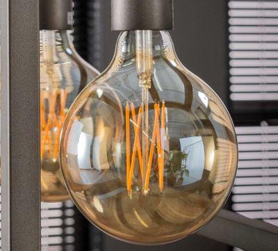 Lichtbron LED filament bol ø12 5 - E27 6W 2100K 450lm dimbaar / Amberkleurig glas