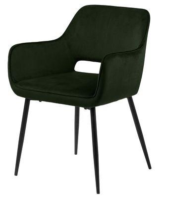 Eetkamerstoel Ravia in olijf groene velours stof met zwart metalen poten