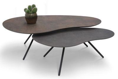 Brees New World salontafelset Cloudy HPL brons + agaat grijs