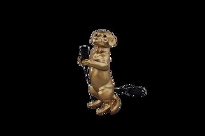 Staande hondenlamp in goudkleur
