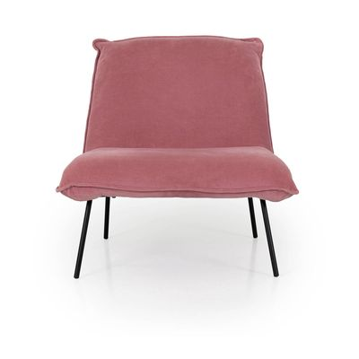 Fauteuil Joey in smalle rose rib stof