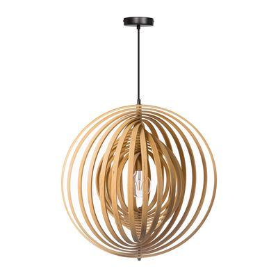 Woody hanglamp bestaande uit 18 houten ringen