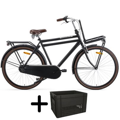 Popal Daily Dutch Basic+ Heren 28 inch Mat Zwart met krat