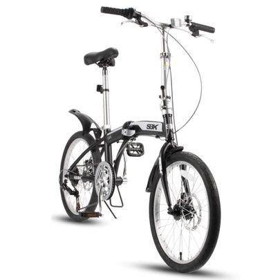 SBK Bike Vouwfiets 20 inch 6 Versnellingen Schijfremmen Mat Zwart.1
