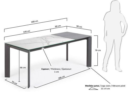 laforma esstisch atta anthrazit porzellan ausziehbar 140 200 x90x76cm kalos blanco la forma. Black Bedroom Furniture Sets. Home Design Ideas