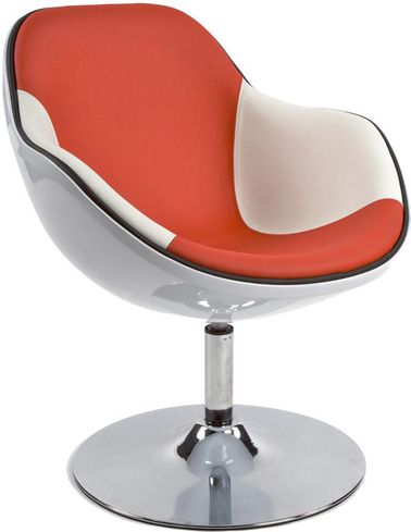 Stoel daytona wit rood kunststof en kunstleer kokoon for Design stoel wit