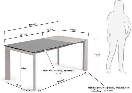 eettafel atta verlengbaar 120 tot 180 cm grijs gehard glas metaal la forma. Black Bedroom Furniture Sets. Home Design Ideas