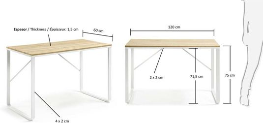 schreibtisch talbot 120x60x76cm wei naturell la forma kaufen wohn. Black Bedroom Furniture Sets. Home Design Ideas