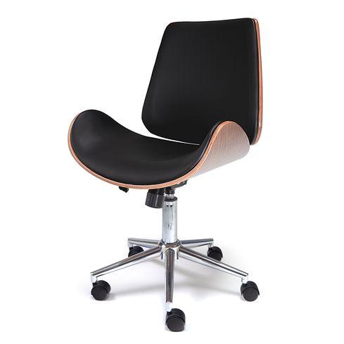 Bureaustoel Assens - Zwart/Walnoot - LiL Design