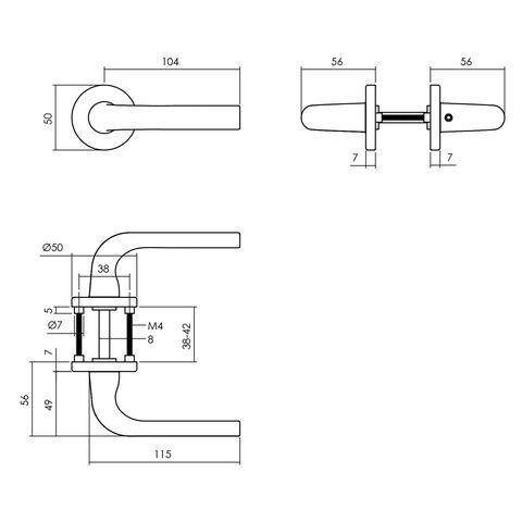 Intersteel Deurkruk Eucla Op Rozet ø50x7 mm Aluminium Zwart