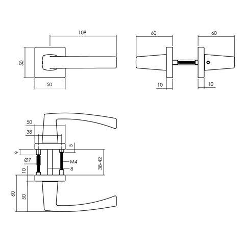 Intersteel Deurkruk Moora op rozet 55x55x10 mm aluminium zwart