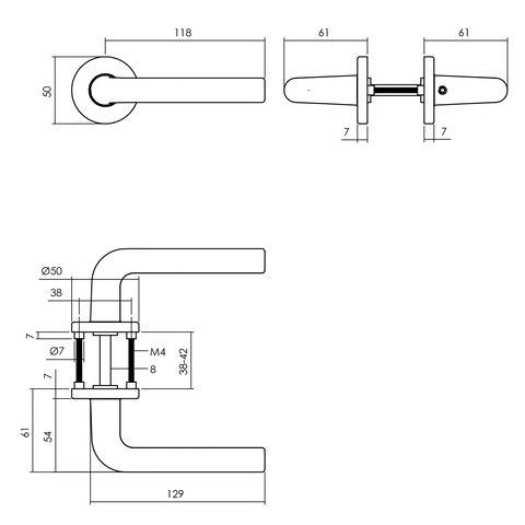 Intersteel Deurkruk Derby op rozet ø50x7 mm aluminium zwart