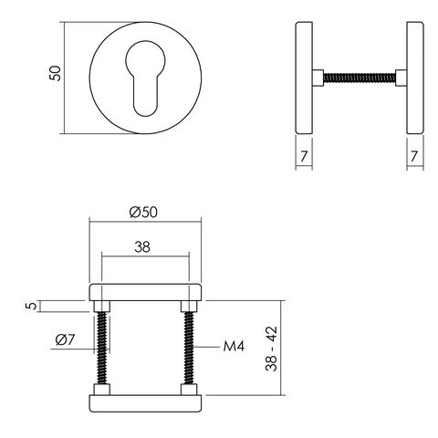 Intersteel Rozet profielcilindergat ø50x7 mm aluminium zwart