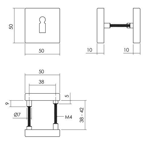 Intersteel Rozet sleutelgat 55x55x10 mm aluminium zwart