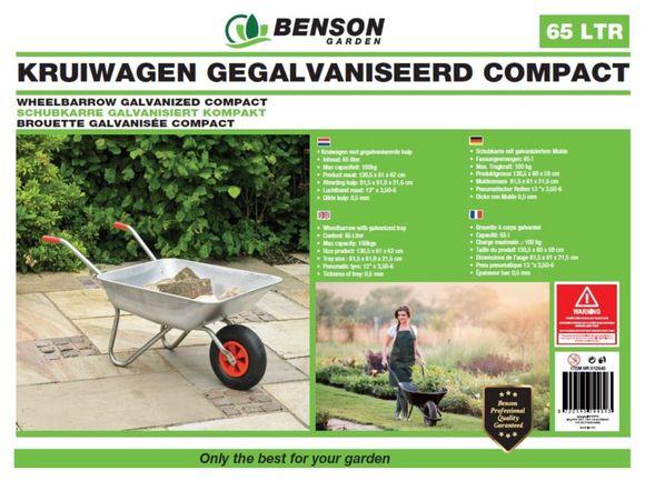 Benson Kruiwagen 65 Liter Gegalvaniseerd - Compact