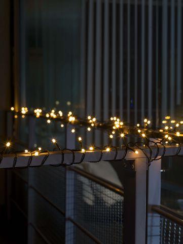 Micro LED 120L Lichtsnoer, frost lens, one string, groene kabel, extra warmwit, 120 extra warm witte LED, 30V buitentrafo, zwarte kabel