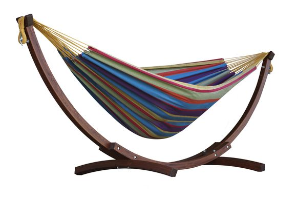 Vivere Combo Dubbele Katoenen Hangmat met Massief Houten Standaard | Tropical