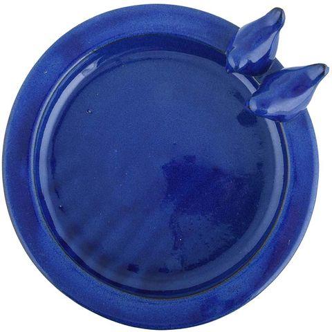 Vogelbad op voet keramiek blauw