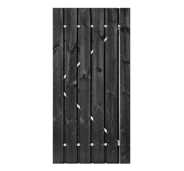 Schuttingdeur zwart gecoat ijzeren frame 200 x 180 cm poort deur - Zwart gecoat ...