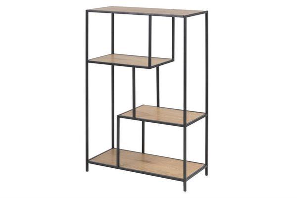 sabro-boekenkast-3-planken-wild-eiken-zwart-frame-1