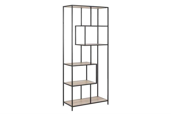 sabro-boekenkast-4-planken-185-asymmetrisch--cm-wild-eiken-zwart-frame-1