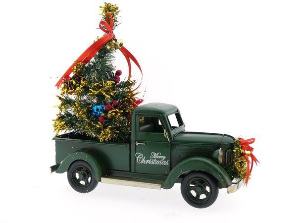 Metalen Auto Met Kerstboom Groen Pickup 36x16x36cm Groothandel Wiljan