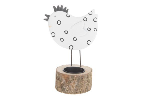 Metalen Kip Kaarshouder 11x8x16.5cm Zwart Wit