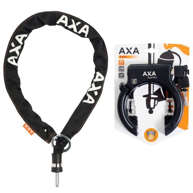 AXA Solid Plus Ringslot Zwart + AXA RLC Insteekketting 140 cm 5,5 mm Zwart