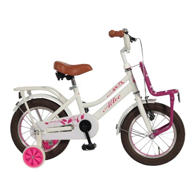 Meisjesfiets Tuana 14 inch Wit Roze