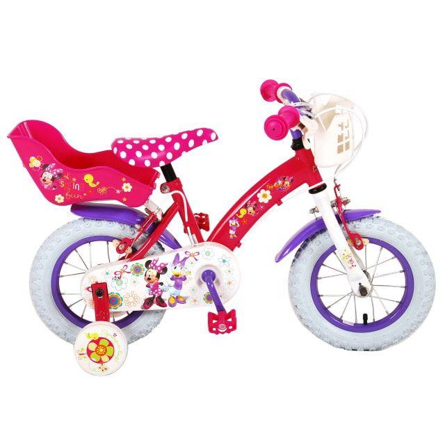 Disney Minnie Bow-Tique Kinderfiets Meisjes 12 inch Roze Wit 2 Handremmen