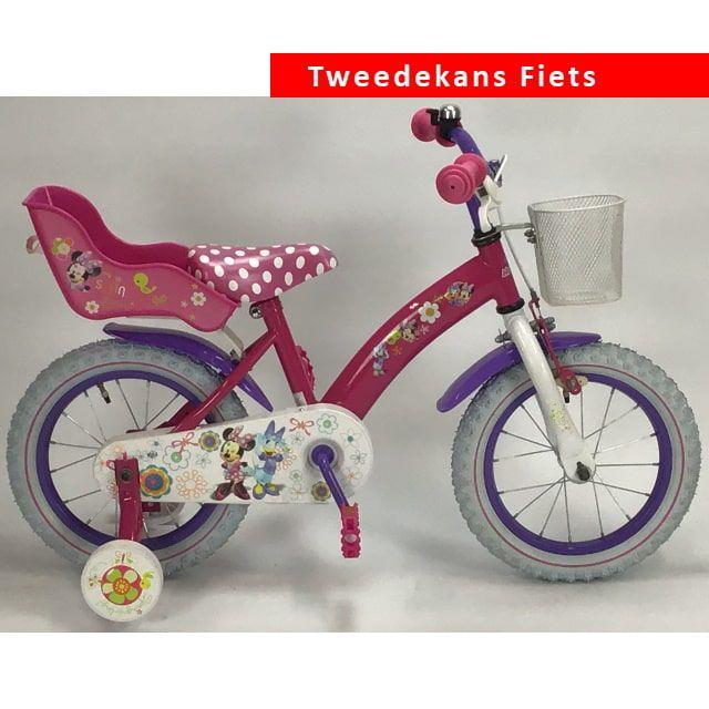 Disney Minnie Bow Tique Kinderfiets Meisjes 14 inch Roze Wit Tweede Kans