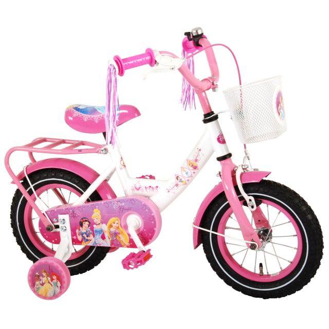Disney Princess Kinderfiets Meisjes 12 inch Roze Wit