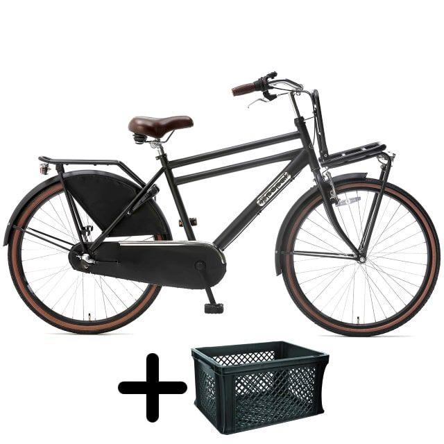 Popal Daily Dutch Basic+ Jongens 26 inch Mat Zwart met krat