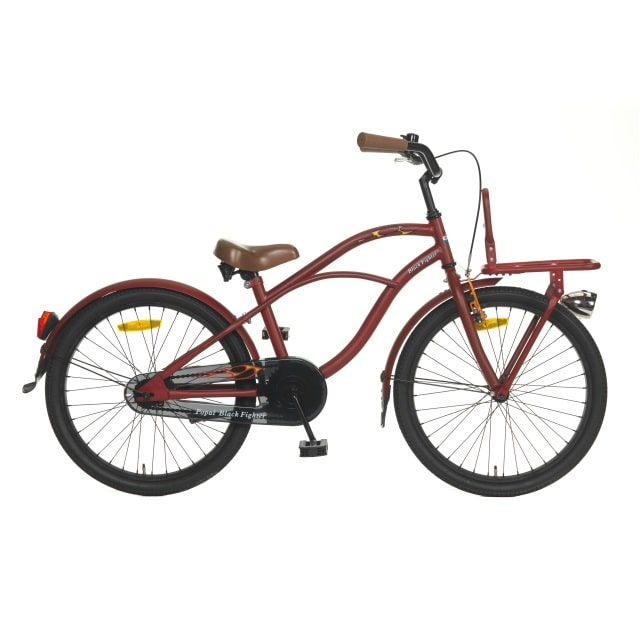 Popal Jongensfiets Black Fighter Mat Rood 22 inch