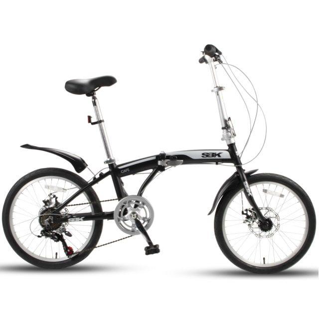 SBK Bike  Vouwfiets 20 inch 6 Versnellingen Schijfremmen Mat Zwart