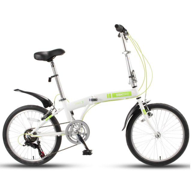 SBK Bike Vouwfiets 20 inch 6 Versnellingen Wit Groen